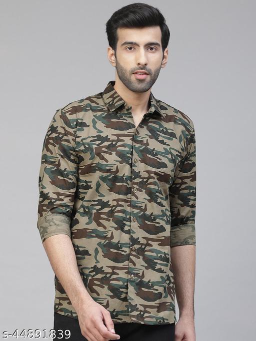 Dennison Men's Olive, Brown & Green Slim Fit Camouflage Print Casual Shirt