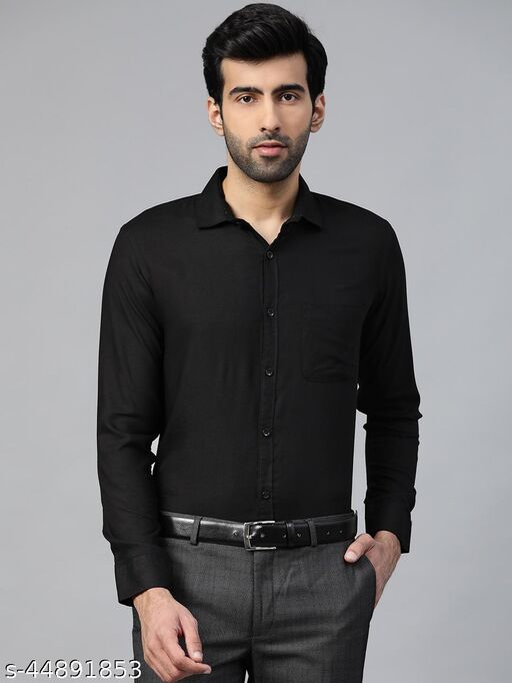Dennison Men's Black Solid Formal Slim Fit Shirt