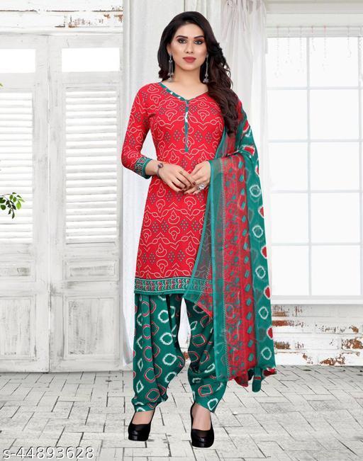 Crepe Red Bandhani Printed DressMaterial