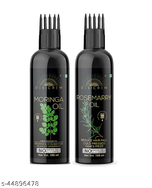Desi Crew Pure  Moringa  Oil & Rosemarry Oil - WITH COMB APPLICATOR - Cold Pressed - For Skin , Body & Hair Care Combo Of 2 Bottle 200 ml