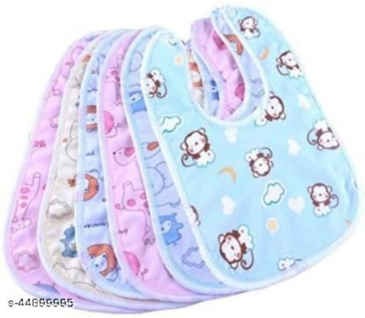 Raccoon Baby Soft Feeding Bibs Apron Cute Multi Printed with Tich Button , Waterproof New Born Baby Bibs (Multicolor, Pack of 6)