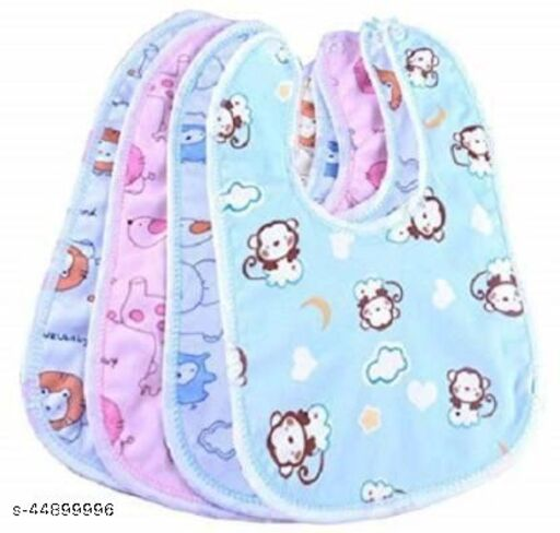 Raccoon Baby Soft Feeding Bibs Apron Cute Multi Printed with Tich Button , Waterproof New Born Baby Bibs (Multicolor, Pack of 4)