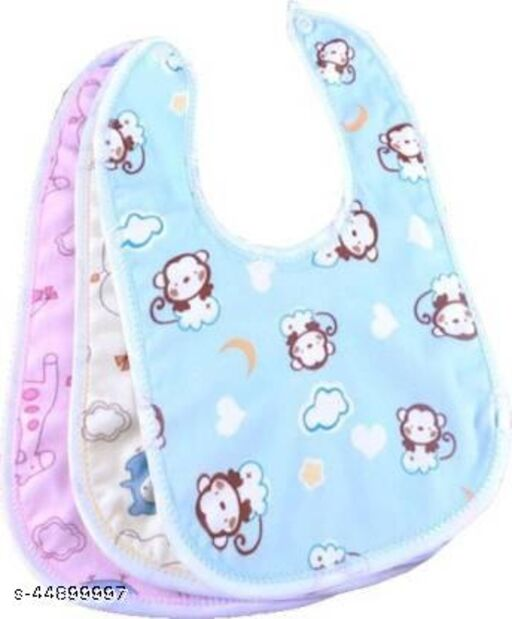 Raccoon Baby Soft Feeding Bibs Apron Cute Multi Printed with Tich Button , Waterproof New Born Baby Bibs (Multicolor, Pack of 3)