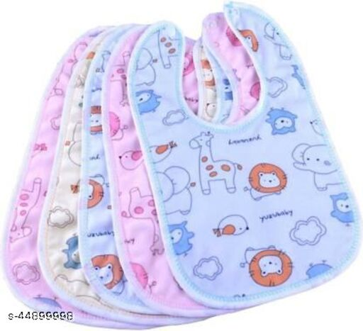 Raccoon Baby Soft Feeding Bibs Apron Cute Multi Printed with Tich Button , Waterproof New Born Baby Bibs (Multicolor, Pack of 5)