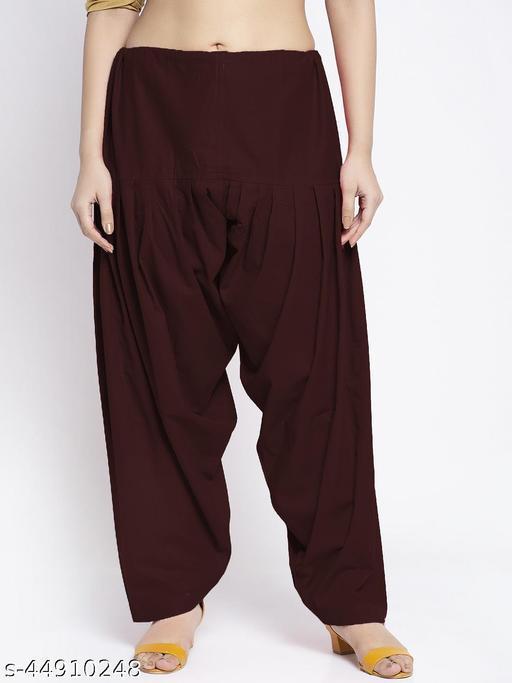 Women Brown Solid Cotton Salwar