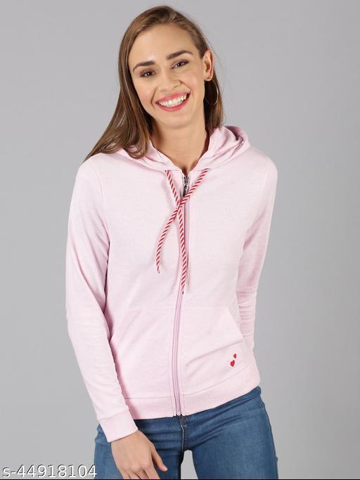 UrGear Full Sleeve Solid Women Pink Sweatshirt