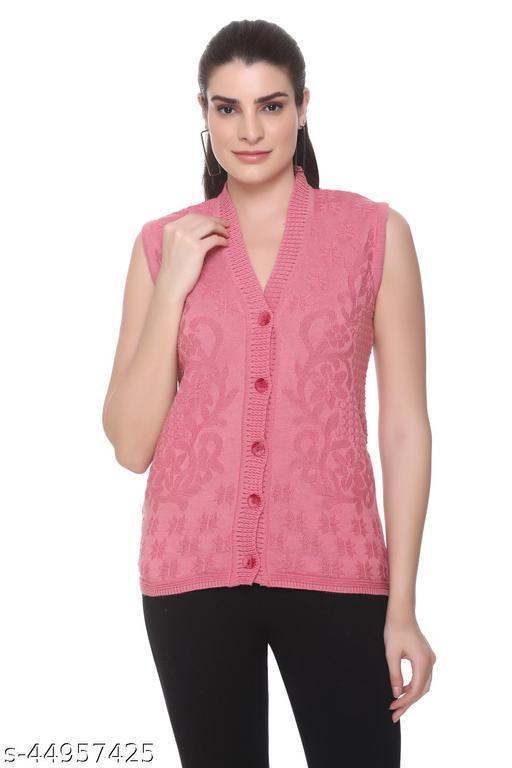 FASHSTORE Womens  Sleeveless Winterwear self design button cardigan