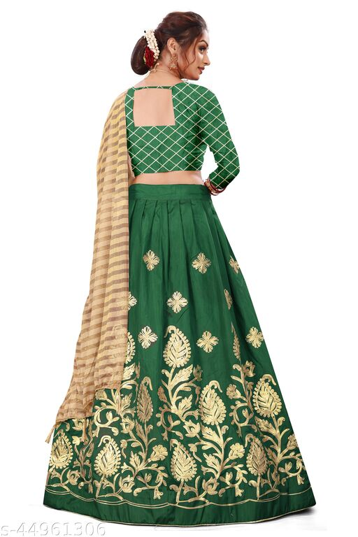 Stysol Ghagra Green Chaniya Choli For Ladies Semi Stitched Women's Lehenga Choli With Blouse