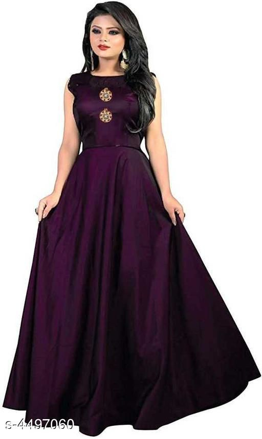 Stylish Taffeta Silk Solid Women's Gown