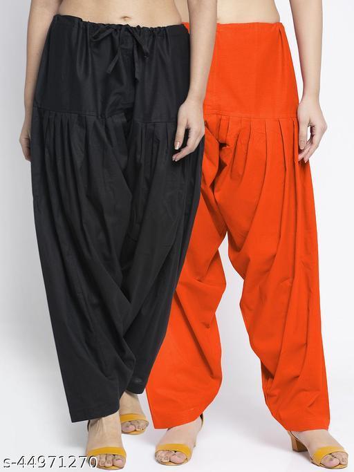 Women Black Orange Solid Cotton Salwar