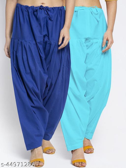 Women Blue Aqua Solid Cotton Salwar