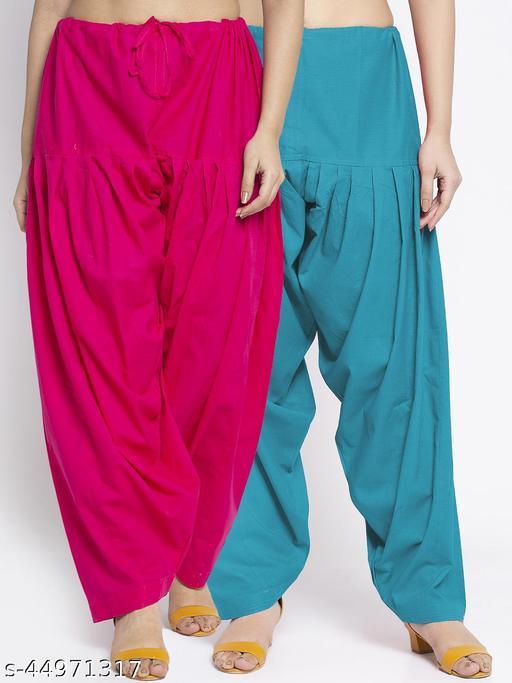 Women Pink Sky Blue Solid Cotton Salwar