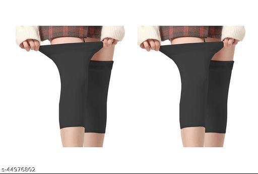 Soft & Warm Cozy 100% Super Hot Fully Stretchable Best Quality Velvet Fleece KNEE CAP Socks for Ladies/Girls/Women (Pack of 2 Pair) - Black