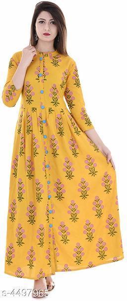 Women's Printed Rayon Long Anarkali Kurti