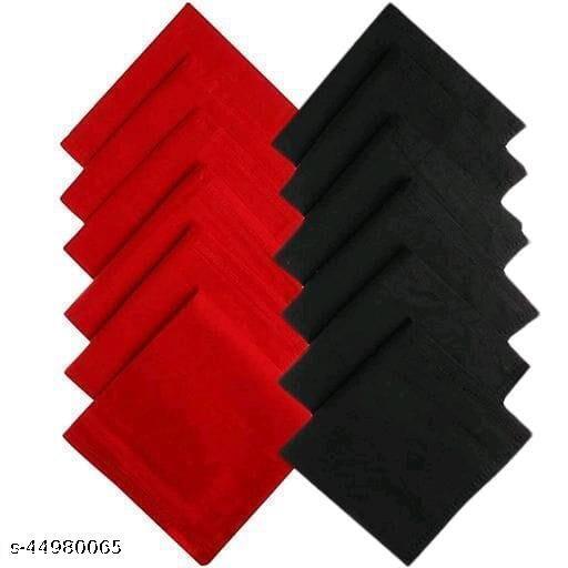 Men's Cotton 6Red & 6Black Handkerchief (Pack of 12)