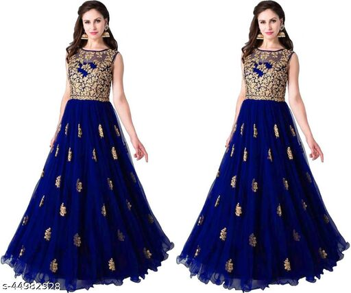 Maniya New Color Embroidery Work Design Net Gown