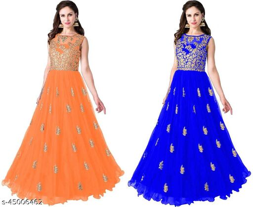 New Combo Design Net Embroidery Work Gown (Combo Pisce)