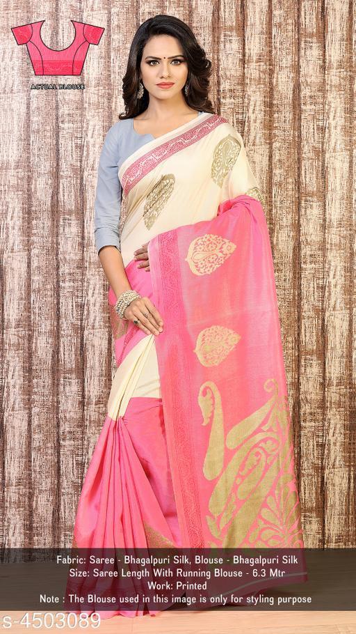 Designer Printed Bhagalpuri Silk Saree