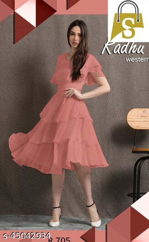 Peach Digital Print Western Designe Dress