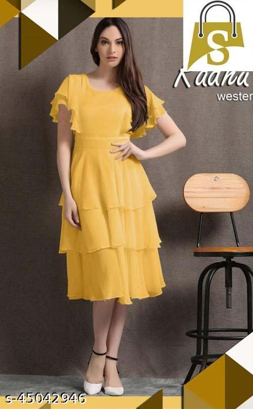 Light Yellow Digital Print Western Designe Dress