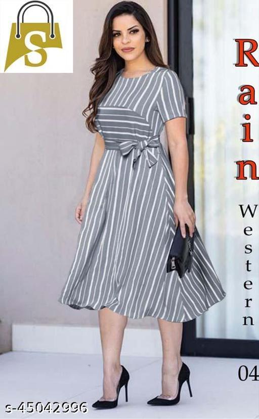Grey Digital Print Western Designe Dress
