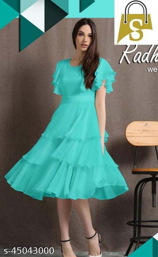 Sky Blue Digital Print Western Designe Dress