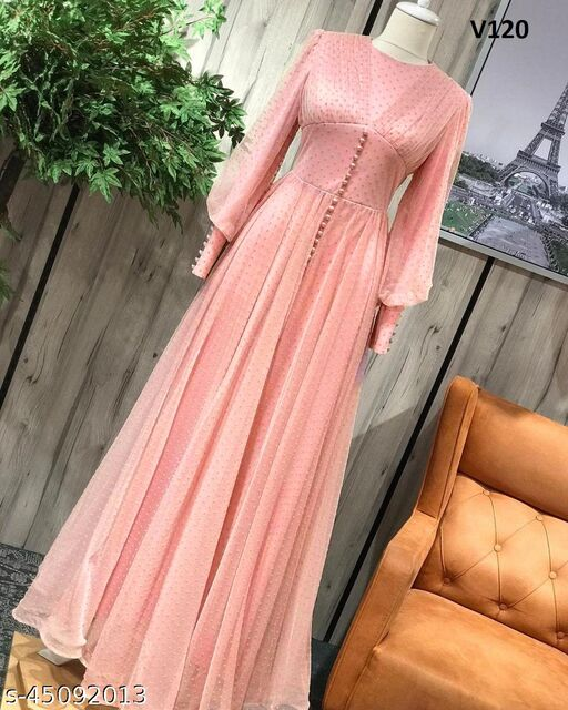 Desirable peach Colored Partywear Georgette Gown