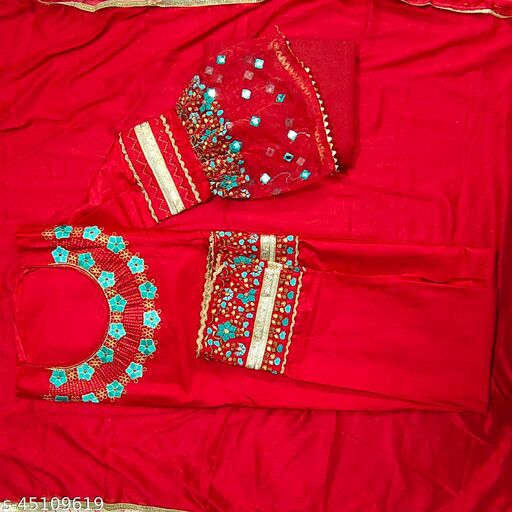 Presenting Party wear Jam Cotton Suit With Beautiful Heavy Work (FESTIVE COLLECTION)