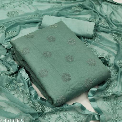 Pretty Chanderi Embroiderd Heavy Unstiched Dress Material