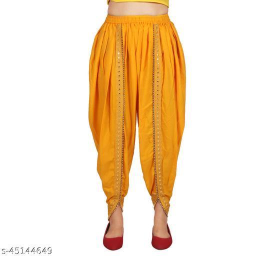 Deollz Fashion's High Quality Rayon Yellow Colour Dhoti for Women & Girls
