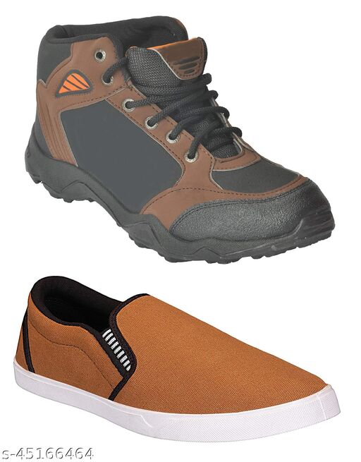Camro Synthetic Leather Boots And Canvas Casual Loafers For  Men. (Combo PO2)