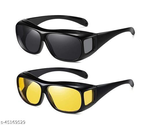 Uniqon Hd Vision Day and Night Unisex Hd Vision Goggles Anti-Glare Polarized Sunglasses Men/women Driving Glasses Uv Protection All Bikes & car