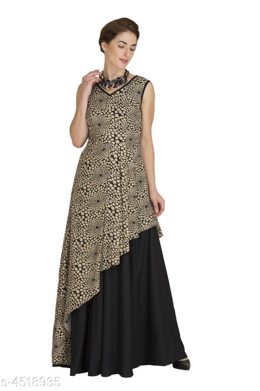 Women's Printed Dark Multicolour Crepe Dress