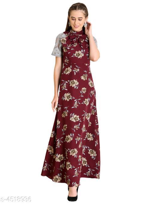 Women's Printed Maroon Crepe Dress