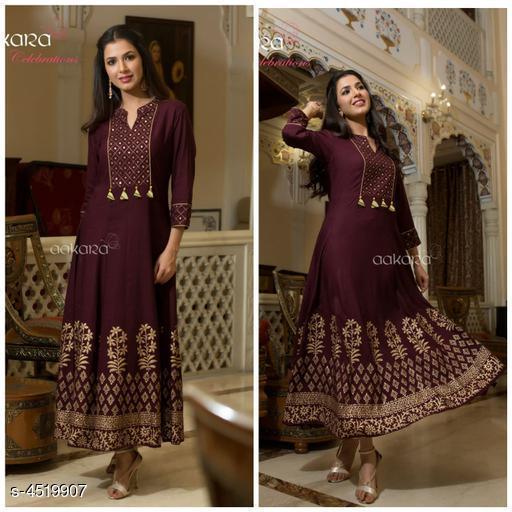 Women's Embroidered Purple Rayon Dress