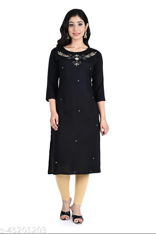 Saniya fashion Black Color Rayon Straight Women's Kurta