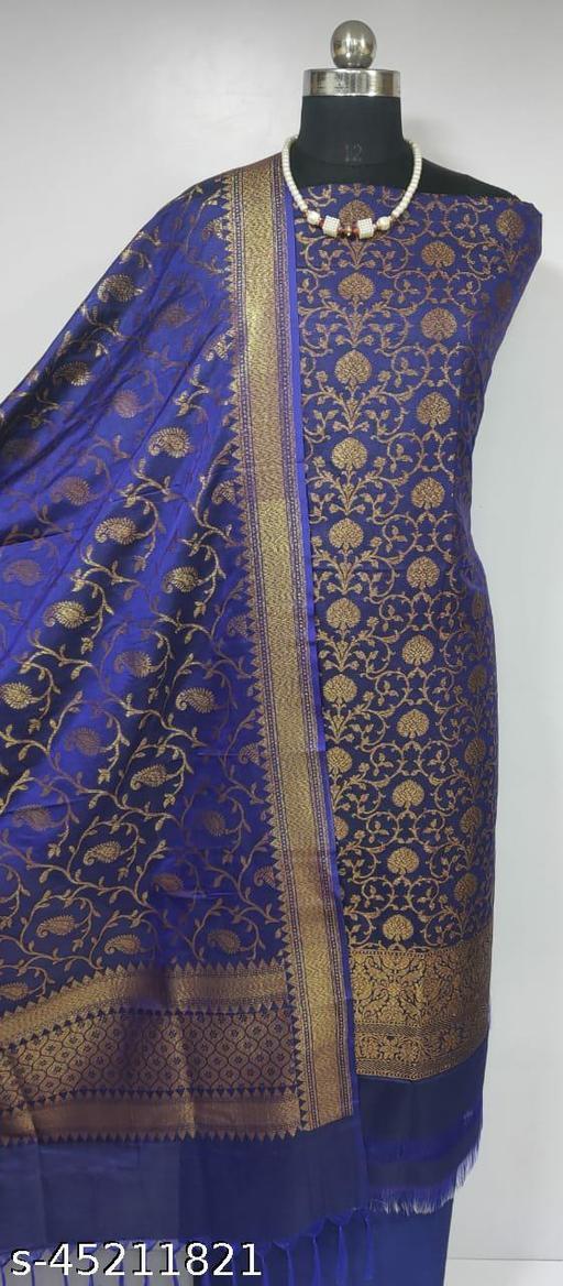 (8Blue) Fabulous Banarsi Pure Silk Suit And Dress Material