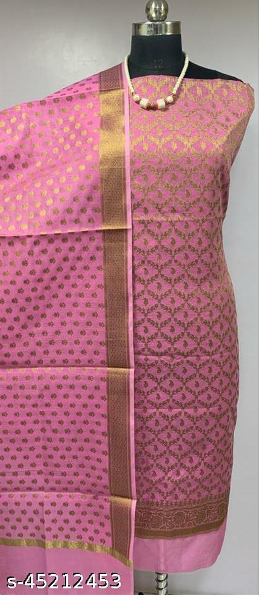 (5Pink) Fabulous TrenDy Banarsi Cotton Suit And Dress Material