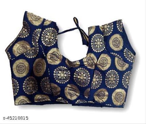 Advikavya Women's Brocade Short Sleeve Readymade Blouse