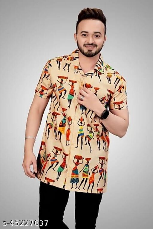 Men Slim Fit Ethnic  Printed Spread Collar Floral Casual Shirts