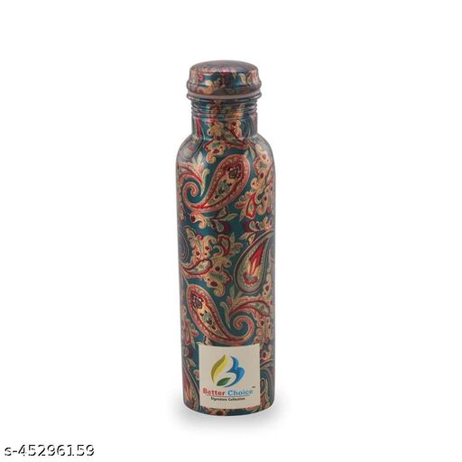 Better Choice 100% Pure Copper Printed Water Bottle for drinking water, with Leak Proof and Joint Less, for Home/Office/ Schoo/Gym/Yoga/Health Benefits (1000 ML)