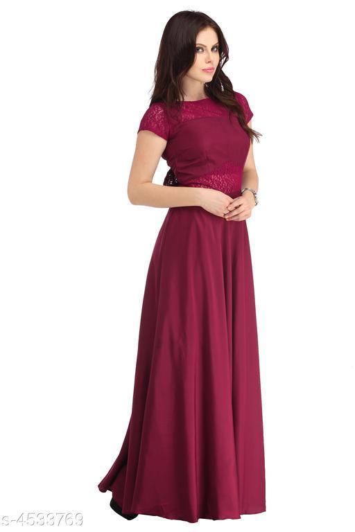 Women's Solid Pink Crepe Dress