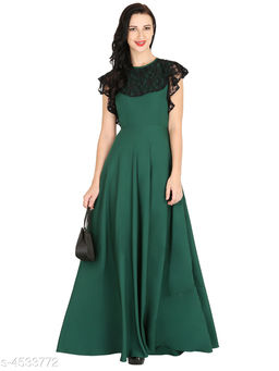 Women's Solid Green Crepe Dress