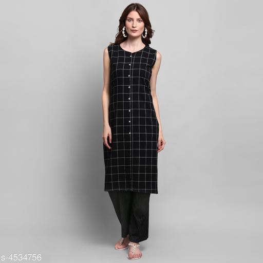 Women Cotton A-line Checked Long Kurti With Palazzos