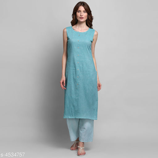 Women Cotton A-line Solid Long Kurti With Palazzos