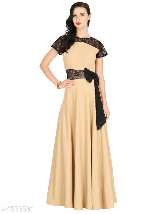 Women's Solid Cream Crepe Dress