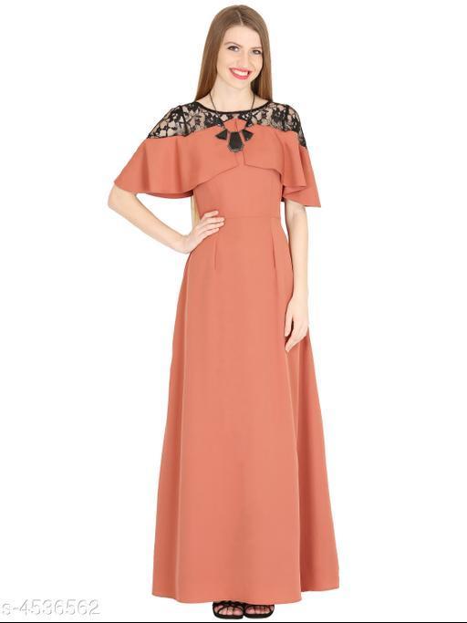 Women's Solid Peach Crepe Dress