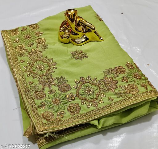 Embroidery C pallu Saree with Blouse Piece and Handwork