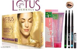 Professional Lotus Herbals Gold Kit Facial Kit With Face & Body Face Scrub Gel & Long Lasting Glam 21 Eye kajal (Green,blue,white)