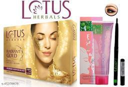 Professional Lotus Herbals Gold Kit Facial Kit With Face & Body Face Scrub Gel & Long Lasting Glam 21 Eye kajal (Green)